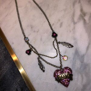 Betsey Johnson pink heart love necklace